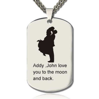 Solid Gold Faill In Love Couple Name Dog Tag Necklace