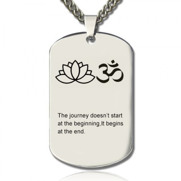 Solid Gold Yoga Theme,Lotus Flower Name Dog Tag Necklace