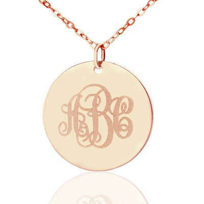 Solid Rose Gold Vine Font Disc Engraved Monogram Necklace