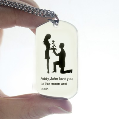 Solid Gold Marriage Proposal Dog Tag Name Necklace