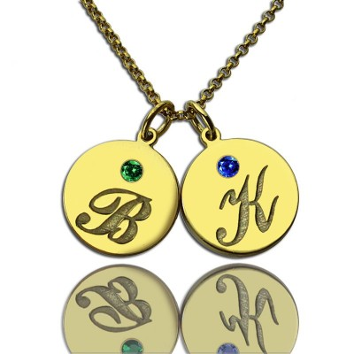 Engraved Initial Birthstone Disc Charm Necklace - 18CT Gold
