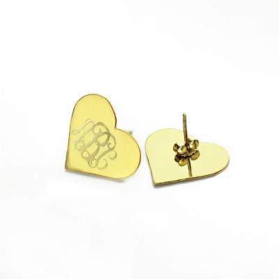 Heart Monogram Stud Earrings - Solid Gold