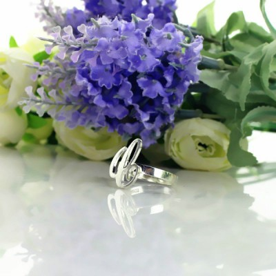 Carrie Initial Letter Solid White Gold Ring