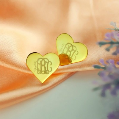 Heart Monogram Stud Earrings - Solid Gold