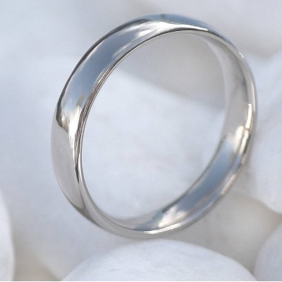 18CT White Gold Wedding Ring, 4mm Comfort Fit