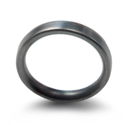 3mm Brushed Matte Flat Court Wedding Solid White Gold Ring