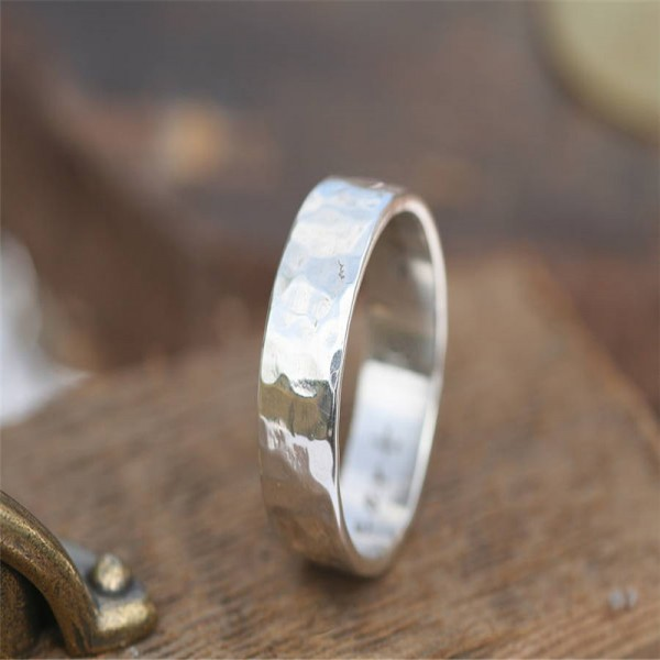 Hammered Solid White Gold Ring