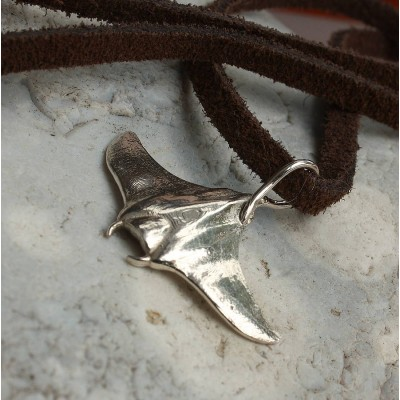 Solid Gold Manta Ray Necklace
