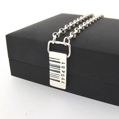 Solid White Gold Barcode Tag Pendant
