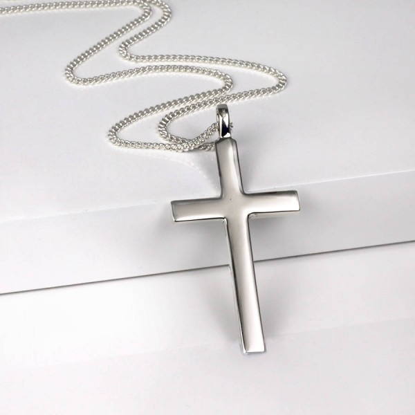 Solid White Gold Big Solid Cross