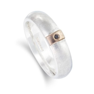 Black Diamond Linear Solid White Gold Ring