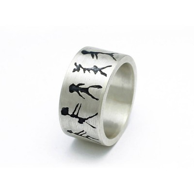 Capivara Cave Art 18CT White Gold Band Ring
