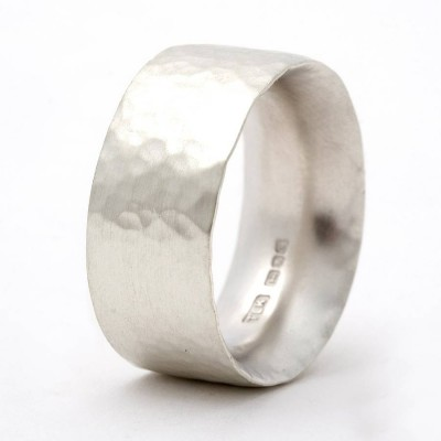 Chunky Hammered Solid White Gold Ring