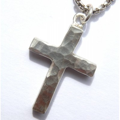 Solid Gold Chunky Hammered Cross Name Necklace