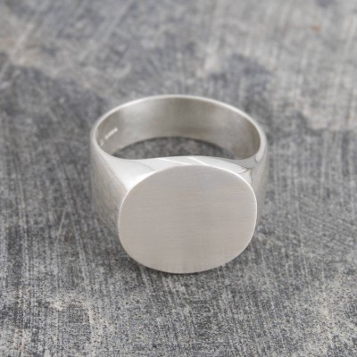 Mens Solid White Gold Circular Signet Ring
