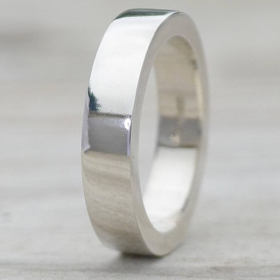 Handmade Chunky Mens Solid White Gold Ring
