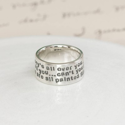 Personalised 18CT White Gold Message Ring