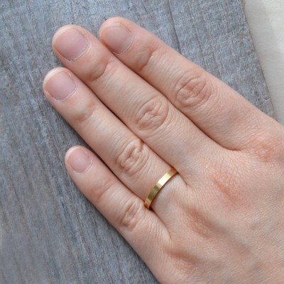 2mm Flat Wedding Band Wedding Solid Gold Ring Stackable