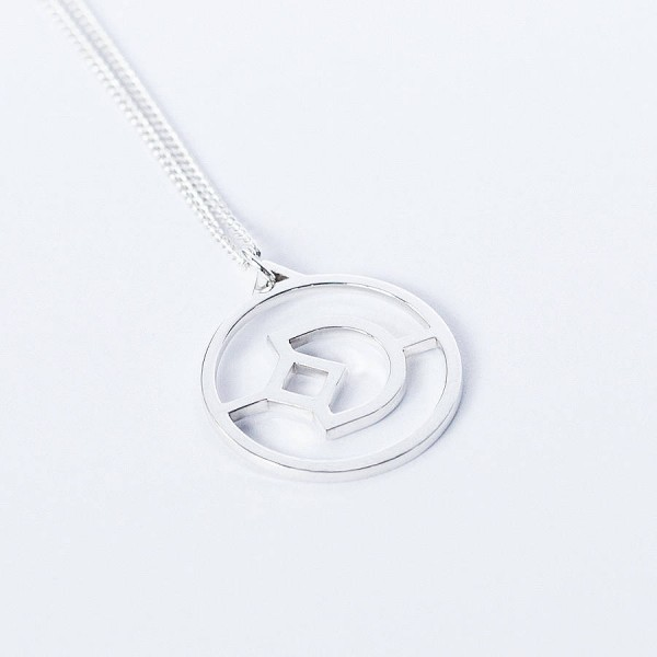 Solid White Gold Crux Initial Necklace