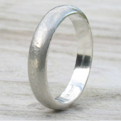 Handmade 18CT White Gold Hammered Ring