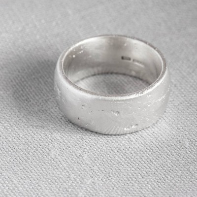 18CT White Gold Domed Sand Cast Wedding Ring