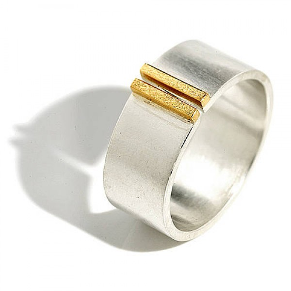 Gold Double Bar Wide Band Ring