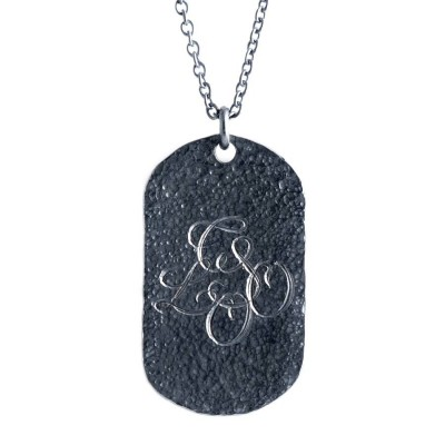 Solid Gold Oxydised Military Tag Necklace
