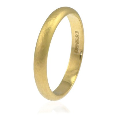 3mm Hammered Wedding Ring In 18CT Gold