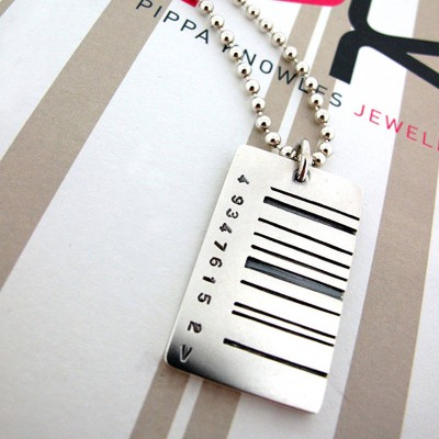 Solid Gold Wide Barcode Tag Pendant
