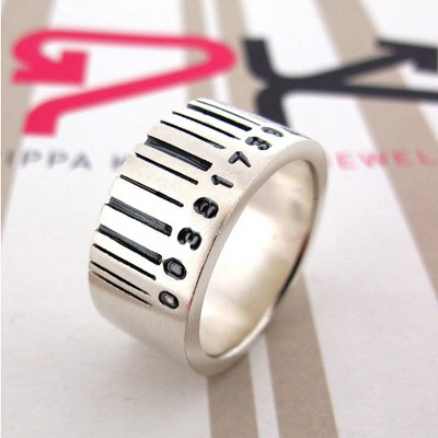 Extra Wide Barcode Solid White Gold Ring