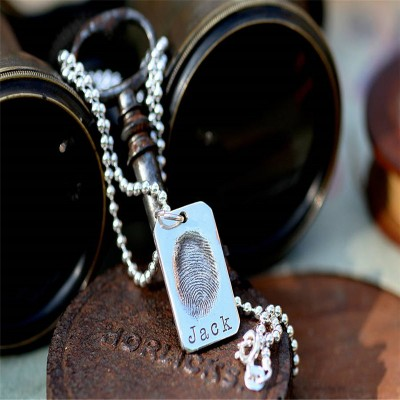 Solid Gold Fingerprint Tag Mens Chain
