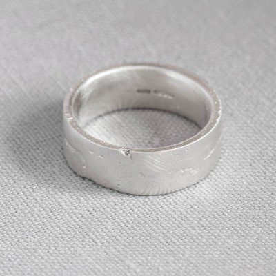 18CT White Gold Flat Sand Cast Wedding Ring