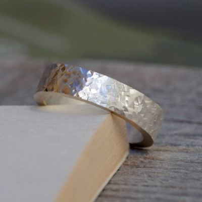 Solid Gold Textured Wedding Band