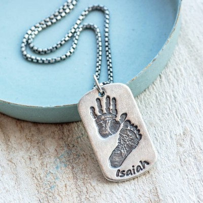 Solid Gold Footprint Handprint Mens Dog Tag Necklace - Two Pendants