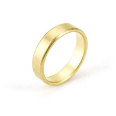 Gents Brushed Pillow Wedding Ring In 18CT Gold