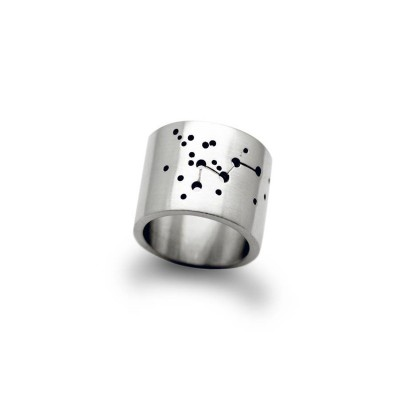 Wide Constellation Solid Gold Ring