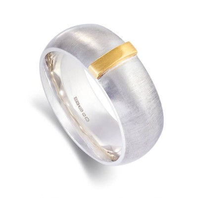 Linear Solid White Gold Ring