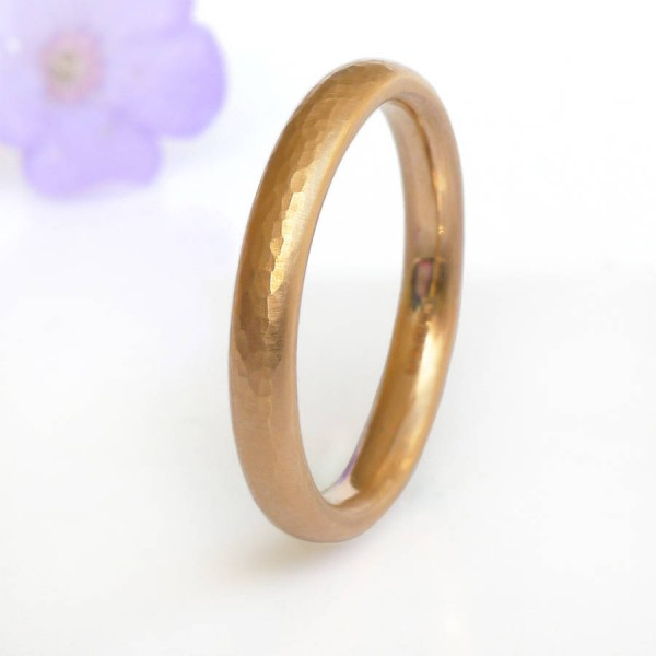 Hammered Comfort Fit Wedding Ring, 18CT Gold