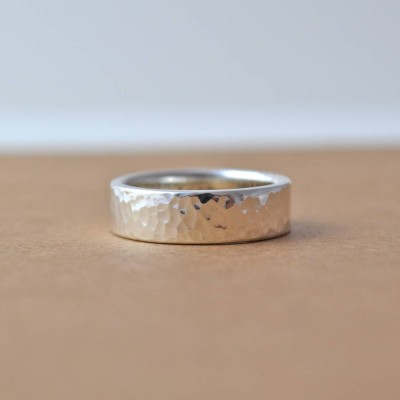 Hammered Hidden Message Solid White Gold Ring
