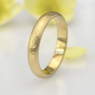 Hammered Ring In 18CT Yellow Or Rose Gold