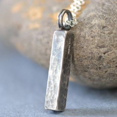 Solid Gold Handmade Blacksmiths Hammered Block Name Necklace