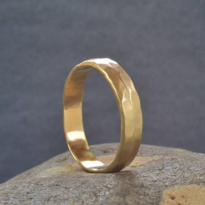 18CT Gold Handmade Hammered Wedding Ring