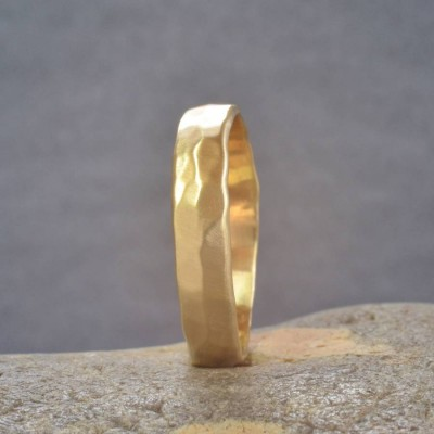 18CT Gold Handmade Hammered Wedding Ring