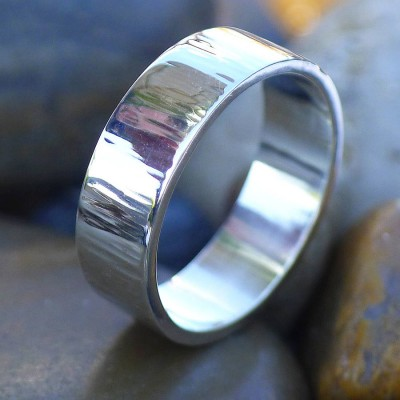 Hammered Solid White Gold Ring With Tree Bark Finish