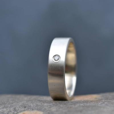 18CT White Gold Handmade Mens Engagement Ring