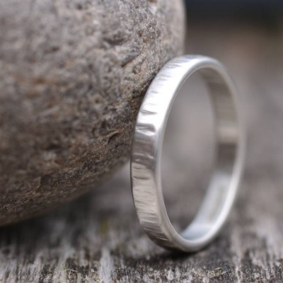 HandmadeRippled Wedding Solid White Gold Ring