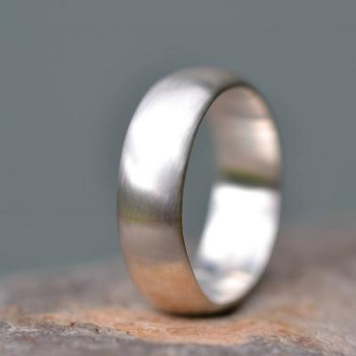 Handmade Satin Finish Wedding Solid White Gold Ring