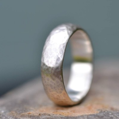 Handmade Wedding Solid White Gold Ring Lightly Hammered Finish