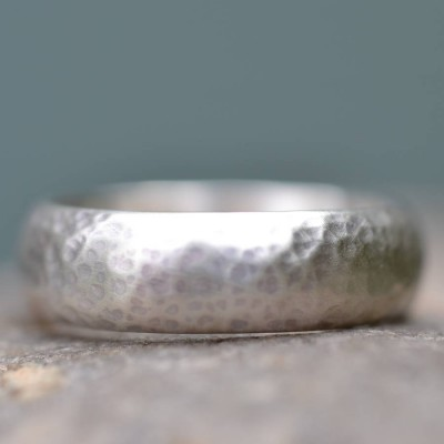 Handmade Wedding Solid White Gold Ring Lightly Hammered Finish