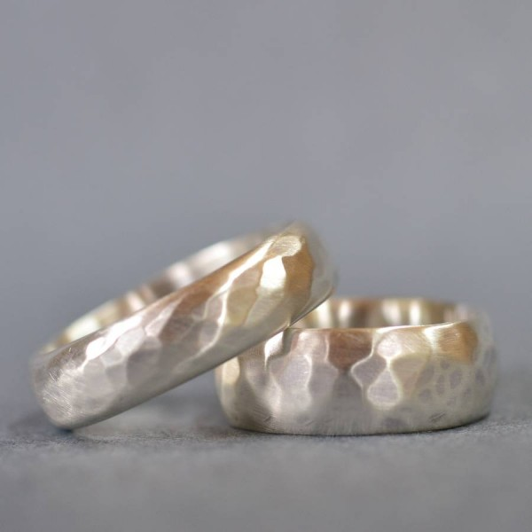 HandmadeWedding Solid White Gold Ring With Hammered Finish